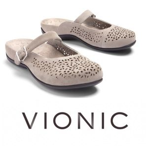 Vionic Rest Lidia Perforated Gray Mary Jane Mule